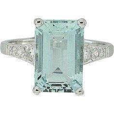 Vintage Emerald Cut Aquamarine Ring | 18ct White Gold Handmade Diamond and Large Aquamarine Stone Ring