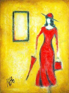 Lady with umbrella Abstract Art Painting by Nebojsa Jovanovic NESAART