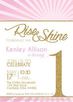 Wake up to WAFFLES BIRTHDAY INVITATION, Pink or Yellow (Breakfast ...