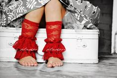 Lace Legwarmers with lots of ruffles in red by ISADORAKIDS on Etsy