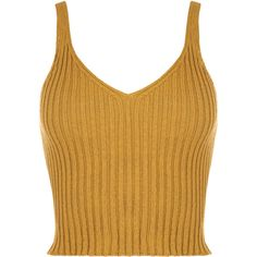 Holo Sleeveless Rib Knit Crop Top (€17) ❤ liked on Polyvore featuring tops, sweaters, mustard, vest sweater, v neck crop top, mustard sweater, brown crop top and sleeveless crop top