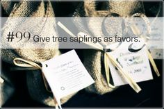 """SeattleStyle.com's """"101 Ways to Make A Wedding Eco-Chic!"""" #99: Give tree saplings as favors."""