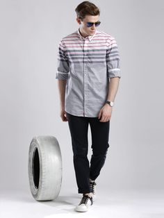 Buy Tommy Hilfiger Navy & White Striped New York Fit Casual Shirt online in India at best price.Navy and white striped casual shirt with a tinge of grey, has a button-down collar, a full button Mens Fashion Casual Shoes, Men Casual, Man Fashion, My Wardrobe, Navy And White, Custom Shirts, Casual Shirts, Tommy Hilfiger, Menswear