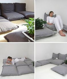 Coolest Floor Pillows - floor pillows, cool pillows Love these floor pillows that zip together to make a couch or somewhat like a mattress.Love these floor pillows that zip together to make a couch or somewhat like a mattress. Futon Diy, Futon Mattress, Futon Bedroom, Latex Mattress, Bedroom Seating, Floor Seating, Ideias Diy, Sewing Pillows, Small Spaces