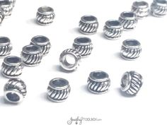 Detailed Rondelle Beads, Antique Silver Pewter Extra Large Hole Beads, Metal Beads, 4x6mm, 3mm Hole, Lot Size 15 to 50, #1359 BH