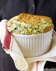 Ina Garten's Spinach and Cheddar Soufflé. housebeautiful.com. #souffle #ina_garten #fall_recipes #comfort_food