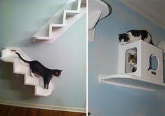Arbre à chat mural, je vais sans doute un jour le faire... *** Wood cat furniture - tree wall