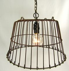 Industrial Pendant Light Lamp Wire Hanging Farmhouse Cage. via Etsy.