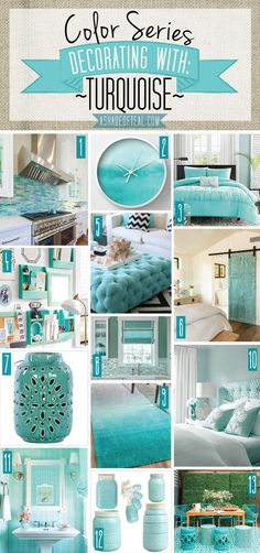 home decor blue Color Series; Decorating with Turquoise. Turquoise, teal, aqua, blue green home decor. Deco Turquoise, Bedroom Turquoise, Living Room Decor Turquoise, Green Turquoise, Aqua Decor, Turquoise Decorations, Turquoise Bedroom Decor, Turquoise Office, Turquoise Cottage