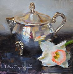 Silver and Daffodil by Elena Katsyura Oil ~ 6 in x 6 in Types Of Painting, Painting Still Life, Still Life Art, Renaissance Paintings, Fine Art Auctions, Tea Art, Acrylic Painting Canvas, Daffodils, Painting Inspiration