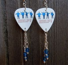 The Beatles Help Album Cover Guitar Pick Earrings with Blue Crystal Dangles by ItsYourPickToo on Etsy