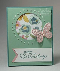 Butterfly Basics Circle Card by dreamingaboutrubberstamps.com - One layout makes two very different circle cards using Stampin' Up! sets like Buterfly Basics with the English Garden designer series paper and Bold Butterfly Framelits