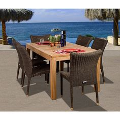 Amazonia Teak Amazonia Hamilton Teak 7-piece Dining Set - Overstock Shopping - Big Discounts on Amazonia Dining Sets