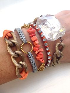 Coral Summer Arm Candy Bracelet Stack by dAnnonEtsy on Etsy