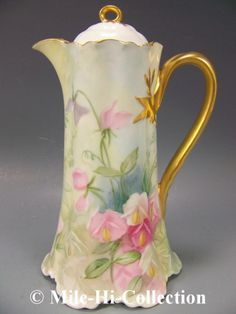 LIMOGES HAND PAINTED SWEET PEA CHOCOLATE POT