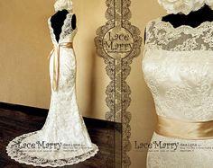 Champagne Wedding Dress Vintage Style Slim Wedding Dresses