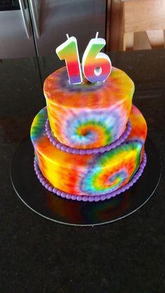 Tie Dye Buttercream Cake  on Cake Central