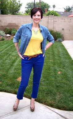 cobalt + yellow + chambray #outfit