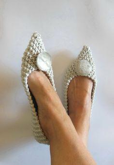 Pointed Toe Flats  Women's Slippers  SILVER wedding by NENAKNIT