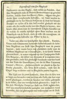 Pieter Jansz. Post | De beschrijving van de begrafenis van Frederik Hendrik, p. 20, Pieter Jansz. Post, 1651 | Pagina 20 van de beschrijving van de begrafenis van Frederik Hendrik. Blad uitgeknipt, versierd met goud en ingeplakt in de luxe editie uit ca. 1755 van het boek 'Begraeffenisse van syne hoogheyt Frederick Henrick' van Pieter Post, uitgegeven te Amsterdam in 1651.