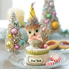 Owl Candy Box - tiny trinket box with bottle brush trees.