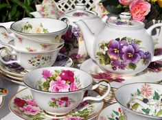 4:00 Tea...Staffordshire...Collection of china in gorgeous floral patterns