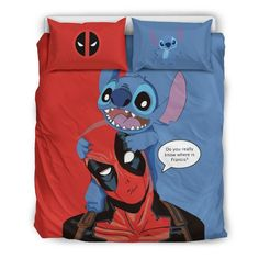 Stitch & Deadpool Disney Custom Bedding Set - Quit Cover + 2 Pillow Ca Lelo And Stitch, Lilo Y Stitch, Cute Stitch, Lilo And Stitch Quotes, Disney Stich, Marvel Room, Disney Bedding, Quilt Bedding, Girl Bedding