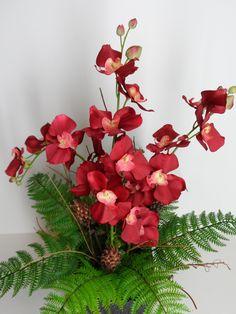 Orchid Arrangement, Red Orchid Arrangement, Elegant Orchid Arrangement, Silk…