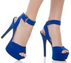saks mavisi ince topuklu ayakkabı tasarımları