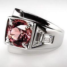 Vintage Pink Tourmaline Ring w/ Diamonds in 14K White Gold