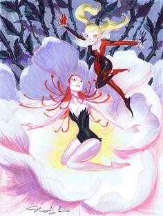 Poison Ivy & Harley by Mindy Lee Spiderman Vs Superman, Teen Titans Fanart, Gotham Girls, Batman Universe, Poison Ivy, Gotham City, Catwoman, Harley Quinn, Art Sketches