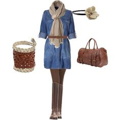 Jean dress with brown and tan accessories. A ...