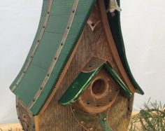 Unique Barnwood Chalet Birdhouse Birthday by CampbellWoodworks