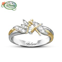"""Tinker Bell """"Believe"""" Two-Toned Engraved Ring"""
