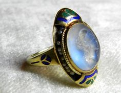 Moonstone Engagement Ring Rare Moonstone Intaglio Enamel Art Nouveau Antique Ring 14K Seed Pearl 1890 by LoveAlwaysGalicia on Etsy https://www.etsy.com/listing/217365748/moonstone-engagement-ring-rare-moonstone