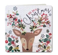 Contemporary Handmade Christmas Card (Deer Design) by Laura Darrington Design