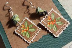 International Postage Stamp Earrings  New by KaphaBeeDesigns