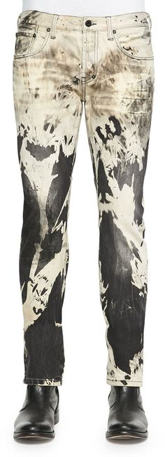 PRPS Abstract Bleached Slim Denim Jeans, Black