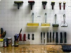 Organized Studio. Coolio! Maybe use hooks instead of peg boards. Can do this for my large brushes