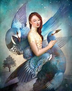 Sky Dancers Art Print by Christian Schloe - X-Small Fantasy Kunst, Fantasy Art, Art Bleu, Image Nature Fleurs, Art Fantaisiste, Images Vintage, Inspiration Art, Arte Pop, Canvas Prints