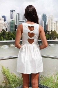 White Sleeveless Mini Dress with Three Heart Cutout Back, Dress.