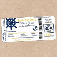 This custom Nautical Boarding Pass is perfect for a destination wedding invitation, save the date, or any nautical themed party!