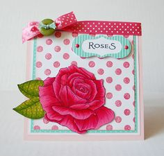 Papertrey Ink Year of Flowers Roses.  Amber Kroening. Bella Rose Cards.