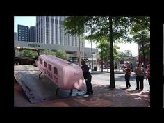 Moving Percival the Pink Pig from the old Rich's Department Store building to his home at the Atlanta History Center
