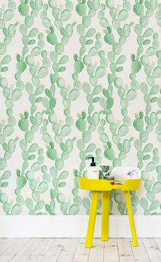 Cactus crazy? This watercolour wallpaper will bring joy to your home even on the rainiest of days. Delicate watercolour illustrations feature dainty yellow flowers against a natural canvas texture. This design is incredibly versatile, working in kid's bedrooms and would spruce up dull bathroom spaces!