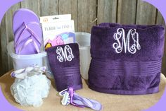 Off to K-State with a custom shower tote. Included a custom embroidered towel and wash cloth, flip flops, razors, and towel wrap.