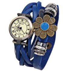 ELY Quartz Watch with 12 Roman Numbers Indicate Leather Watch Band for Women - Blue
