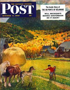 Belgian Horse Farm. Saturday Evening Post, October 8, 1949 (John Clymer)