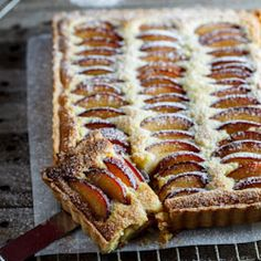 A delicious, fragrant frangipane tart studded with slices of fresh, juicy plum.