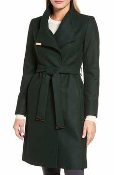 2ea7c63615 Ted Baker London Wool Blend Long Wrap Coat Wrap Coat, Coats For Women, Wool
